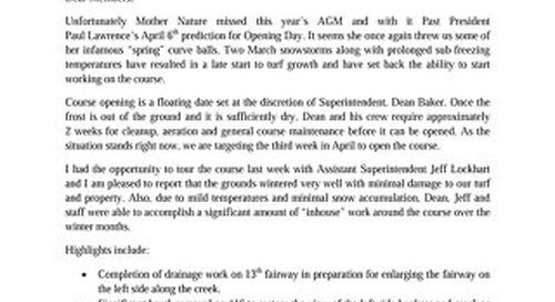 President's Letter ~ April 7th 2017