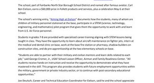 News Release: Follett Challenge Announces Grand-Prize Winning School