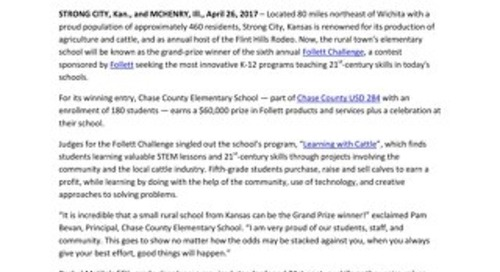 News Release: Small Kansas Elementary School Beats Odds to Win Grand Prize in Sixth Annual Follett Challenge