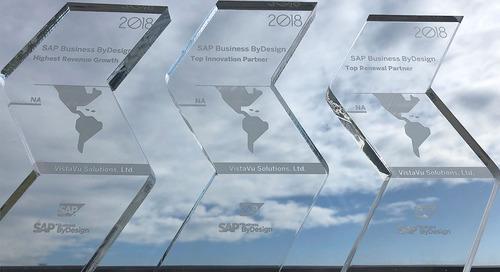 VistaVu Takes Home 3 Awards from SAP for SAP Business ByDesign Efforts