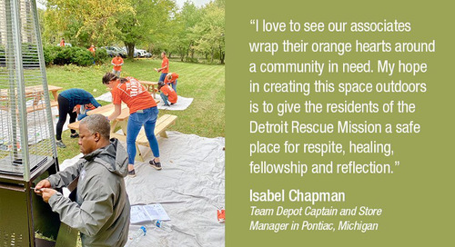 Team Depot Associates Beautify Community Green Space for Detroit Veterans
