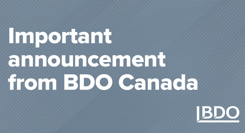 Important announcement from BDO Canada
