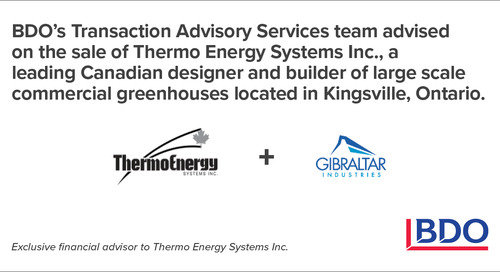 BDO Canada Advised On The Sale Of A Leading North American Greenhouse Solutions Provider Located In Kingsville, Ontario