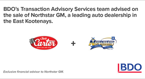 BDO Canada Transaction Advisory Services Advised On The Sale Of Northstar GM