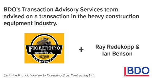 BDO Canada Transaction Advisory Services Advised On A Transaction In The Heavy Construction Equipment Industry