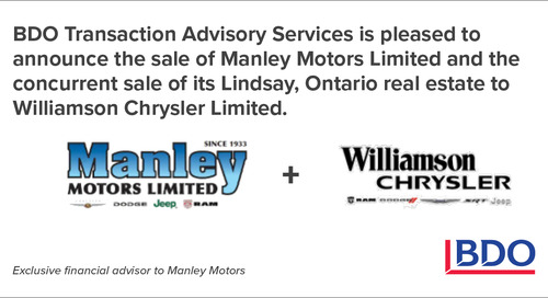 BDO Canada Transaction Advisory Services Advised On The Sale Of Manley Motors