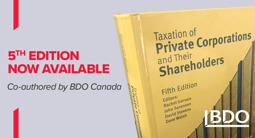 BDO co-authors the latest edition of Taxation of Private Corporations and Their Shareholders