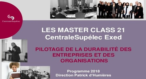 """Nouvelle session Master Class 21 """"Piloter le modèle durable de l'entreprise"""" EcoVadis participe"""