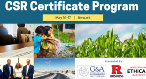 CSR Certificate Program Offered by Rutgers IEL & G&A Institute