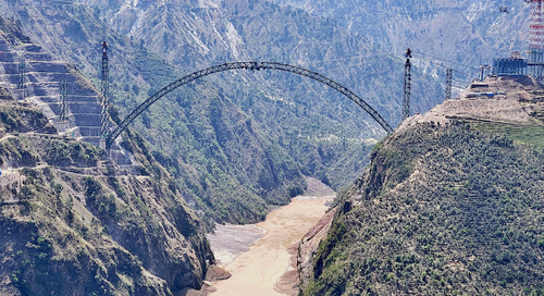 World's Highest Railroad Arch Crossing Takes Shape in Himalayas