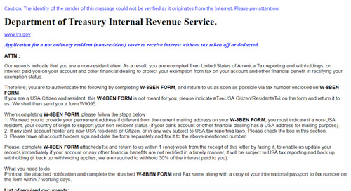 Beware of Emails Purporting to be from the IRS