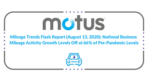 Mileage Trends Flash Report (August 13, 2020): National Business Mileage Activity Growth Levels Off at 66% of Pre-Pandemic Levels
