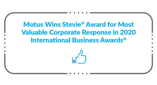 Motus Wins Stevie® Award for Most Valuable Corporate Response in 2020 International Business Awards®