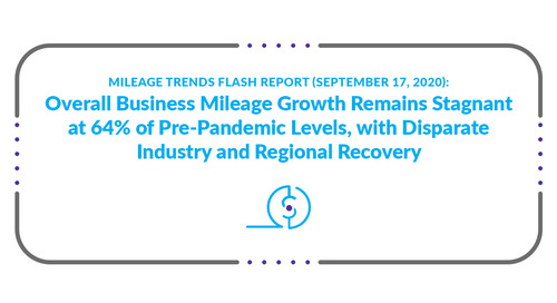 Mileage Trends Flash Report (September 17, 2020): Overall Business Mileage Growth Remains Stagnant at 64% of Pre-Pandemic Levels, with Dispa