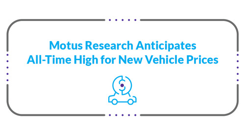 Motus Research Anticipates All-Time High for New Vehicle Prices