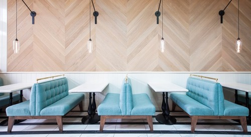 Contemporary California Bistro Features Handmade Crystal Pendant Lighting
