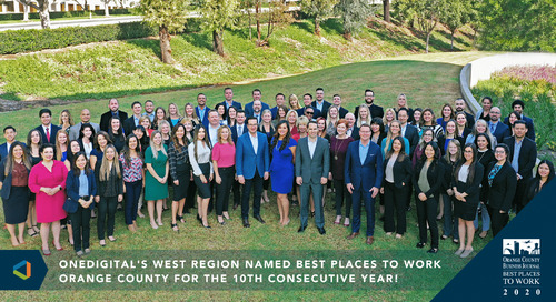 OneDigital's West Region Named Best Places To Work Orange County For The 11th Consecutive Year