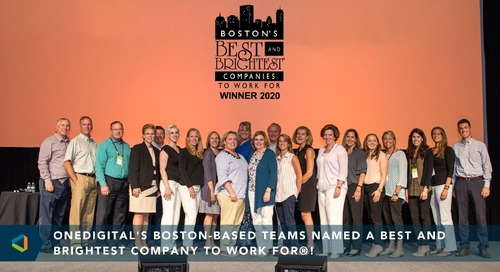 Award Recognizes OneDigital's Massachusetts Team as a Best and Brightest Company to Work For® in Boston