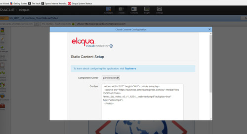Quick tutorial: Posting videos on Eloqua Landing Pages
