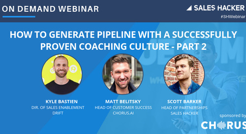 How To Generate Pipeline With a Successfully Proven Coaching Culture – Part 2