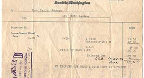 Born at Swedish 92 years ago, and a receipt to prove it