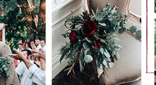 Moody Burgundy & Organic Greenery Wedding Color Board
