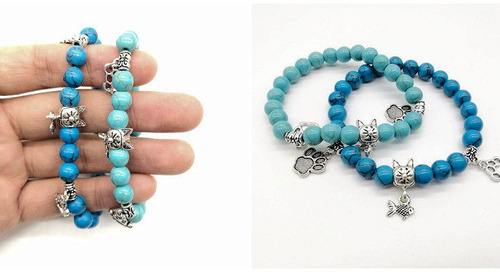 WIN this Blue Bead Natural Stone Cat Bracelet