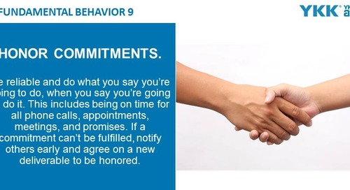 2020-03-02 Issue 136 – Fundamental Behavior 9 – Honor commitments