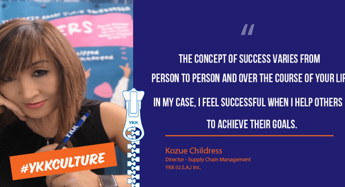 Kozue Childress talks about her professional journey at YKK